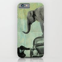 iPhone & iPod Case featuring Looking for Tiny, Elephant on a VW beetle by vin zzep