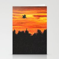 Sunset With Bird Stationery Cards