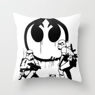 Banksy Troopers Throw Pillow