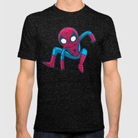 Does whatever a spider can! Mens Fitted Tee Tri-Black SMALL