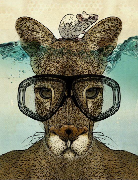 Skuba Roo and a white mouse Art Print
