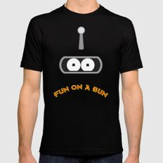 FUN ON A BUN Black Mens Fitted Tee SMALL