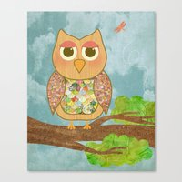 Woodland Owl In A Tree Canvas Print