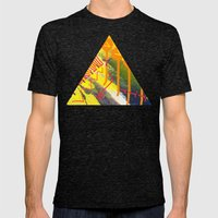 Wave yellow Mens Fitted Tee Tri-Black SMALL