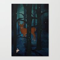 Winter Woods At Night Canvas Print