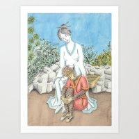 Guanyin And The Monkey K… Art Print