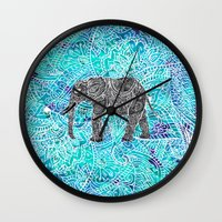 Mandala paisley boho elephant blue turquoise watercolor illustration Wall Clock