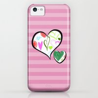 iPhone Cases featuring Love, Romance, Hearts - Red Blue Pink Green by sitnica