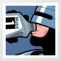 The secret life of heroes - Robot Drink Art Print