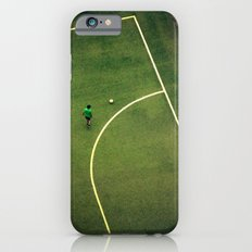 Kids are playing football on the green field iPhone 6 Slim Case