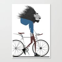 Hipster Lion And His Bic… Canvas Print