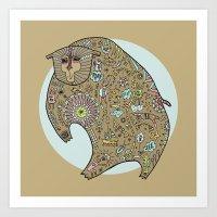 Hunched Bear Art Print