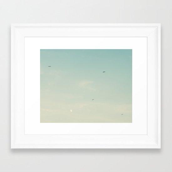 The moon and the birds Framed Art Print