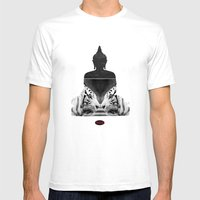 White Tiger Buddha Mens Fitted Tee White SMALL