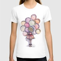 Float Away // Fashion Illustration Womens Fitted Tee White SMALL