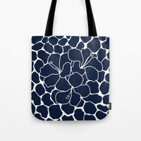 Hibiscus Flower Animal Print Navy  Tote Bag