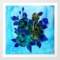Vintage Blue Flowers  Art Print