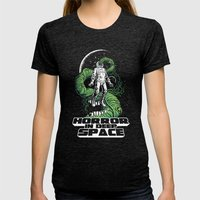 Horror In Deep Space Womens Fitted Tee Tri-Black SMALL