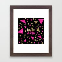 Modern Pink Gold Triangl… Framed Art Print