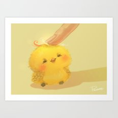 Scritch, a little yellow bird Art Print