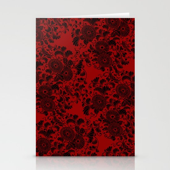 Chrysanthemum II Black on Red Stationery Card