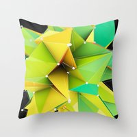 Polygons green Abstract Throw Pillow