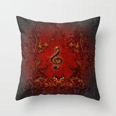 Music, decorative clef Throw Pillow