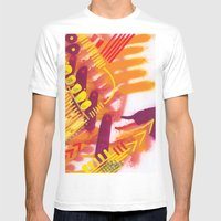 Yellow on Orange Mens Fitted Tee White SMALL