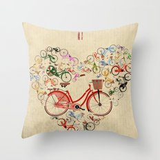 I Love My Bike Throw Pillow