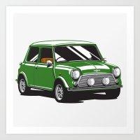 Mini Cooper Car - British Racing Green Art Print