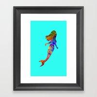 Psychedelic Mermaid Framed Art Print