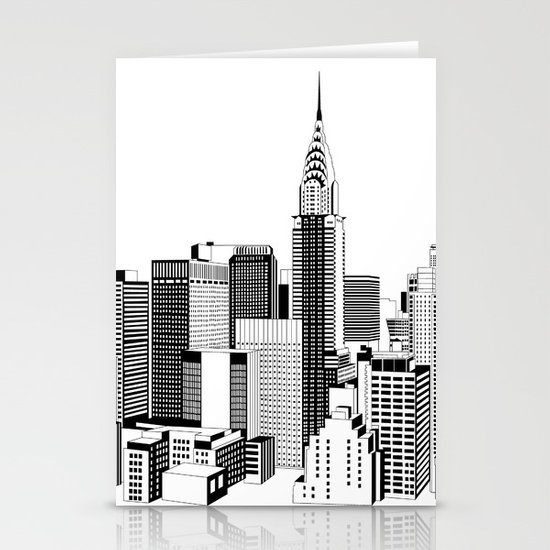 New York Black and White 2 Stationery Card