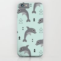Mint dolphin geometric sea life illustration design  iPhone 6 Slim Case