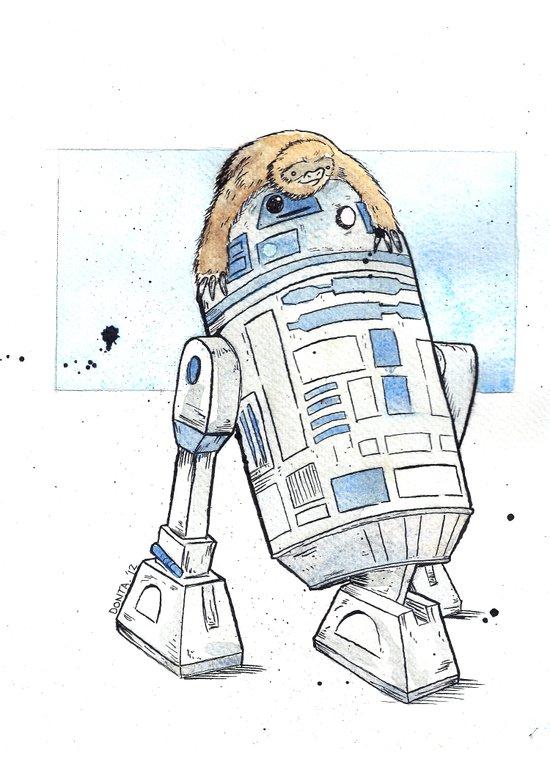 R2 and His Baby Sloth Art Print
