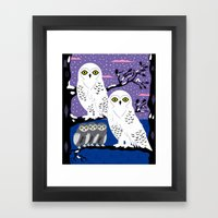 Snowy Owls And Offspring Framed Art Print