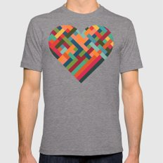 Weave Pattern Mens Fitted Tee Tri-Grey SMALL