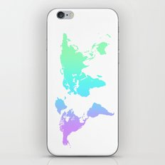 Ocean Gradient World Map iPhone & iPod Skin