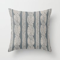 Cable Knit Grey Throw Pillow
