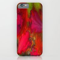 iPhone Cases featuring Flower Mirage in Red by Jenartanddesign