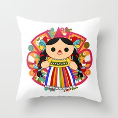 Maria 2 (Mexican Doll) Throw Pillow