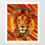 Old Lion Digital Art Pai… Art Print