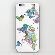 world map mandala watercolor white iPhone & iPod Skin