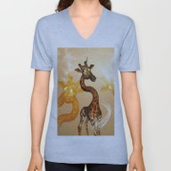 Unisex V-Neck featuring The Unicorn Giraffe by Nicky2342