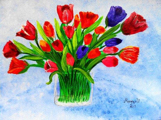 Short stem tulips Art Print