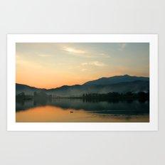The Lake at Sunset, Kyoto Japan Art Print