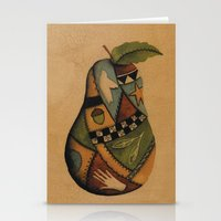 Crazy Quilt Pear Stationery Cards