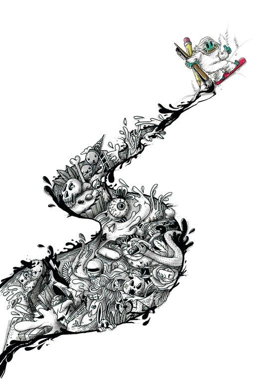 Snowboard'INK! Art Print