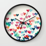 Wall Clock featuring Heart Connections - Wate… by Micklyn