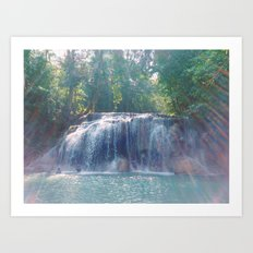 Turquoise Waterfall Art Print