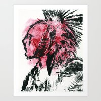 Native American Monotype Art Print